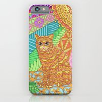 iPhone Cases featuring Tangled Yellow Tabby by Michelle Bowden Art