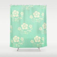 Plein Air Green Floral Pattern Design Shower Curtain