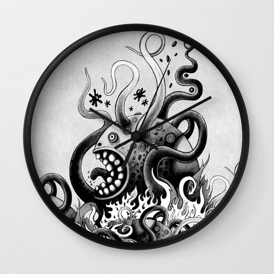 Dark Octoworm Wall Clock