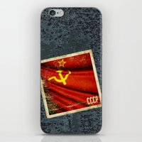 Sticker of Soviet Union (1922-1991) flag iPhone & iPod Skin