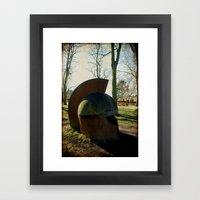 Helmet in the park Framed Art Print