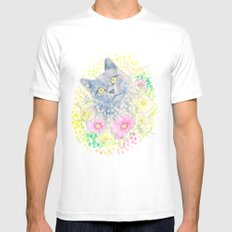 Dreamy Chartreux Cat SMALL Mens Fitted Tee White