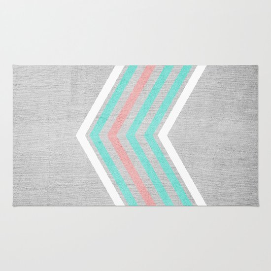 Teal, Pink And White Chevron On Silver Grey Wood Rug By