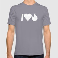 I Love Fire Mens Fitted Tee Slate SMALL