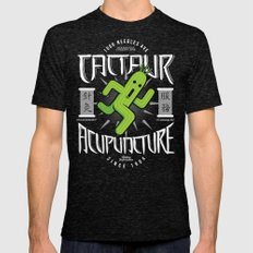 Cactaur Acupuncture Mens Fitted Tee Tri-Black SMALL
