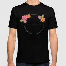 Floral - Ladies Mens Fitted Tee Black SMALL