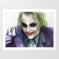 joker Art Prints featuring Joker  by Olechka
