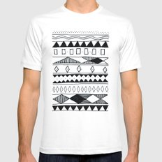 Rivers & Robots Pattern SMALL White Mens Fitted Tee
