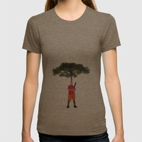 Warrior Tree Womens Fitted Tee Tri-Coffee SMALL