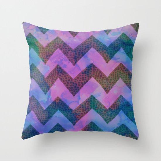 Little Squares Chevron - Blue Throw Pillow