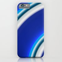 iPhone & iPod Case featuring Blue and white curved Line abstract by Christy Leigh