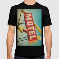 Thrashed Motel Sign Mens Fitted Tee Black SMALL