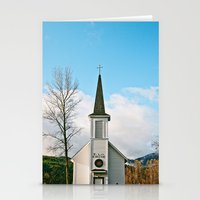 Country Church In The Mo… Stationery Cards