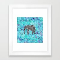Mandala paisley boho elephant blue turquoise watercolor illustration Framed Art Print