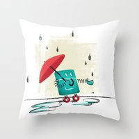 Rain Is Bad For Robots Throw Pillow