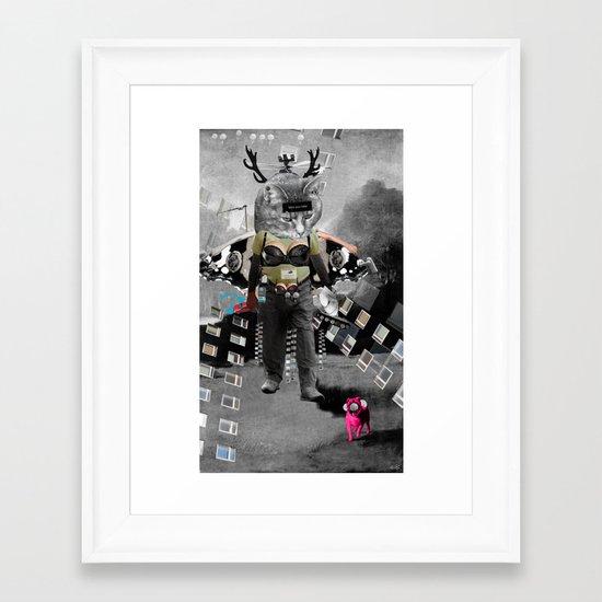 CatMan visit Goya Collage Framed Art Print