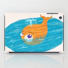 Orange Whale Playing in the Sea iPad Case