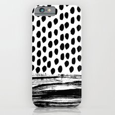 Zoe - Black and white dots, stripes, painted, painterly, hand-drawn, bw, monochrome trendy design Slim Case iPhone 6s