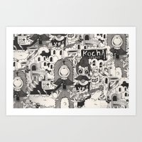 Rock Monster and The City! Art Print