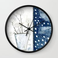 White And Navy Stilllife Wall Clock