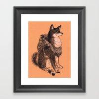 Shibe Doge With Mushroom… Framed Art Print