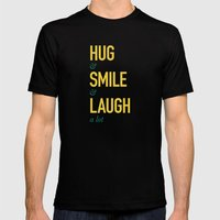 Hug Smile Laugh Mens Fitted Tee Black SMALL