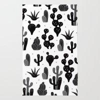 Cactus garden black and white Rug