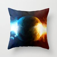 Galactic Countdown - Painting Style Throw Pillow