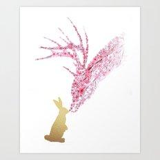 Deer and Bunny Watercolor Art Print