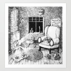 BY THE FIRE Art Print
