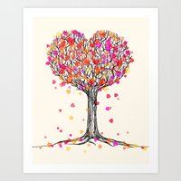Love in the Fall - Heart Tree Illustration Art Print