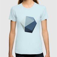 Minimal Geometric Polygo… Womens Fitted Tee Light Blue SMALL