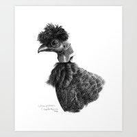 Crested Guineafowl G052 Art Print