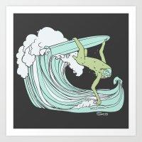 Lazy Swayze - Surfin' Sl… Art Print