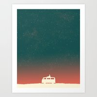 vw Art Prints featuring Quiet Night - starry sky by Picomodi