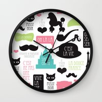 Vintage style Paris typography and illustration pattern Wall Clock