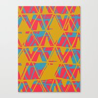 Orange and Blue Printed Triangles Canvas Print