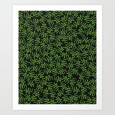 Green Watercolor Tropical Leaf Pattern on Black Background Art Print