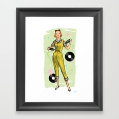 Fun With Records And Redheads Framed Art Print