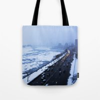 NYC East River Snow Tote Bag