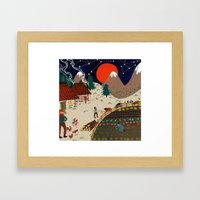 Mountain farm Framed Art Print