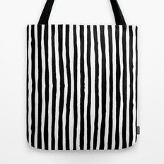 Black and White Vertical Stripes Tote Bag
