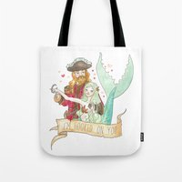 Valentine Mermaid and Pirate Tote Bag