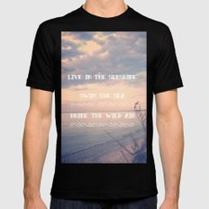 Live in the Sunshine, Swim the Sea Black SMALL Mens Fitted Tee