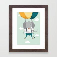 Elephant In Flight Framed Art Print