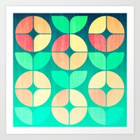 Cherry Denim Pattern Art Print