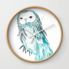 Blue Owl Wall Clock