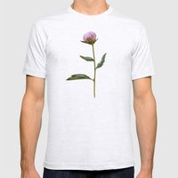 Peonies On Black Mens Fitted Tee Ash Grey SMALL