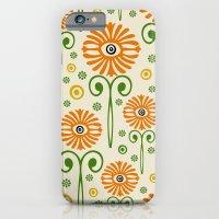 iPhone & iPod Case featuring Retro Sunflower Pattern - Susan Weller by Susan Weller
