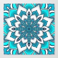Mandala Flower : Turquoise Blue  Canvas Print